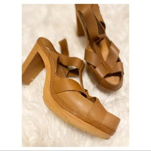 Shoes - Leather Sandals with Wood Heels